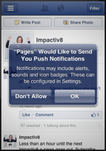 manage your Facebook Pages from your mobile thanks to the facebook pages app, Impactiv8