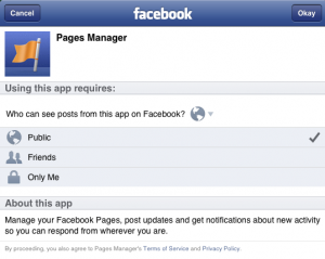 Choose your privacy settings and viability using the Facebook Pages Manager App