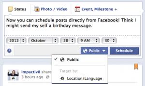 Facebook schedule posts, impactiv8,