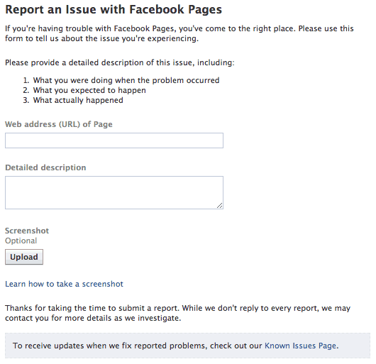 Contact Facebook Page Support Required (Page not working