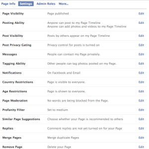 Merge Facebook Page - Facebook Edit Settings - Admin Panel