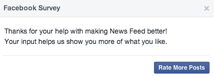 Take a survey to improve newsfeed - rate more posts