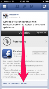 how to share stories on facebook mobile