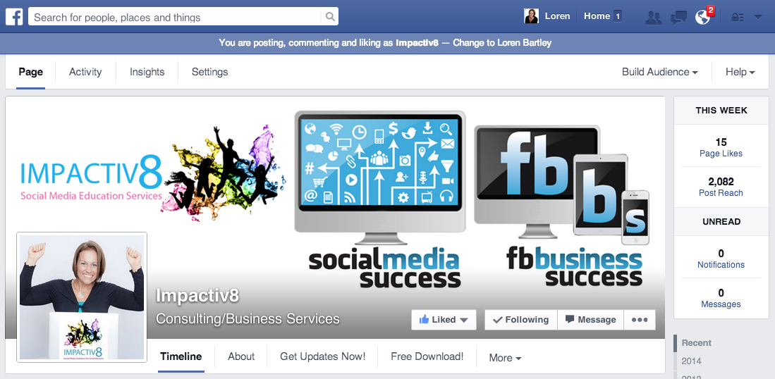 Facebook Page Timeline Admin Panel Access and Cover Image