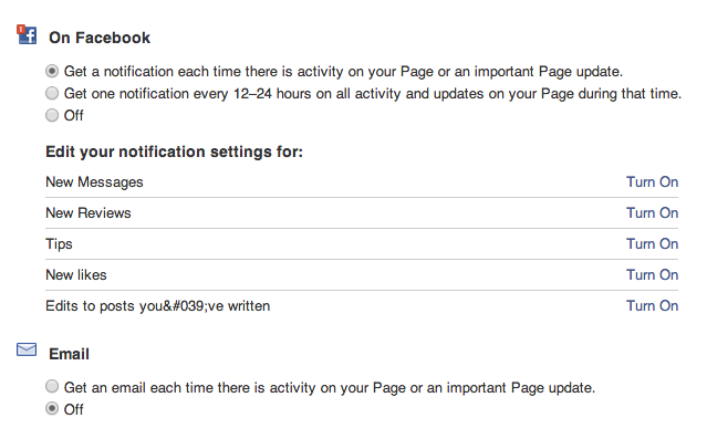 Facebook Page Timeline Notification Settings