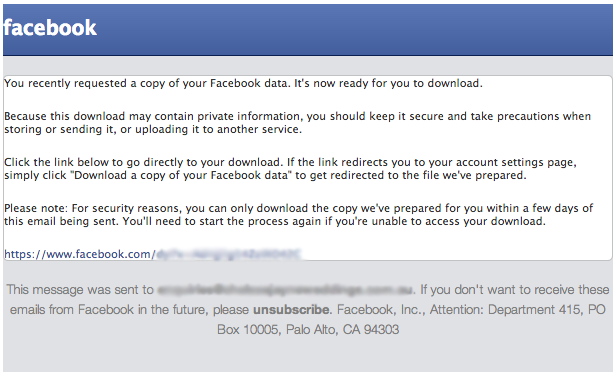 How To Request A Copy Of Your Facebook Data - Confirmation email