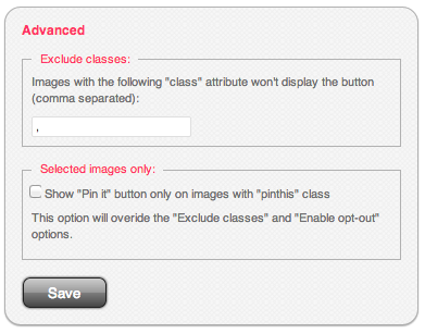 Pinterest Pin It Button For Images Advanced Settings