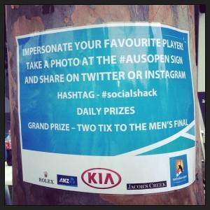 AusOpen SocialShack Hashtags Twitter Instagram Sign