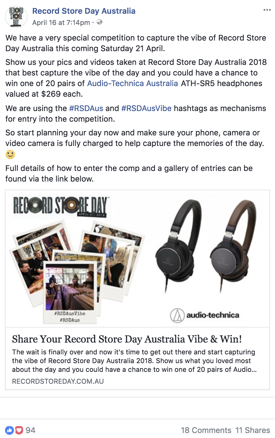 Competition Hashtag Strategy - Record Store Day Australia
