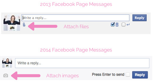 Can't send files in private messages - Facebook Page Redesign 2014