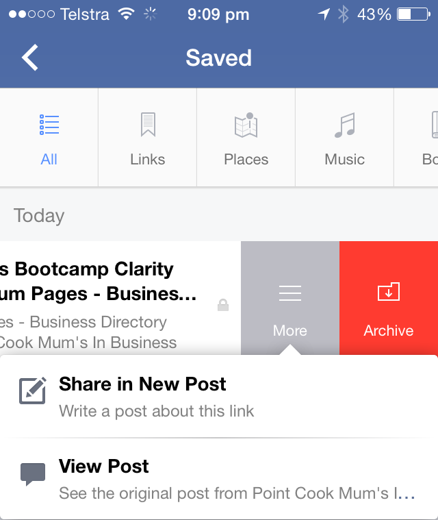 Facebook Save Feature - Share Post - Mobile
