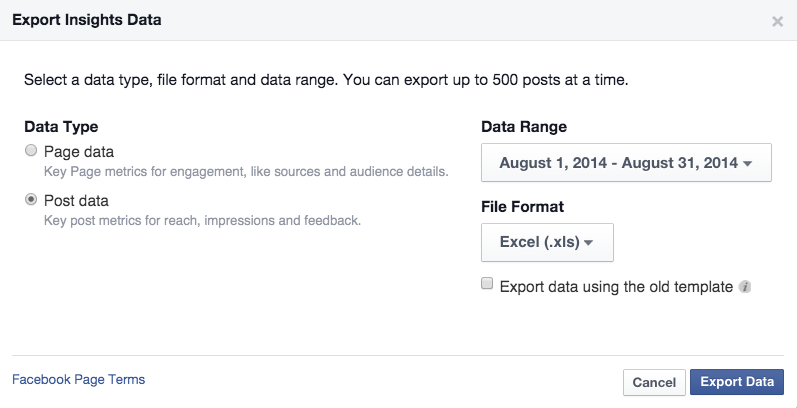 Facebook Post Level Data Export insights Data