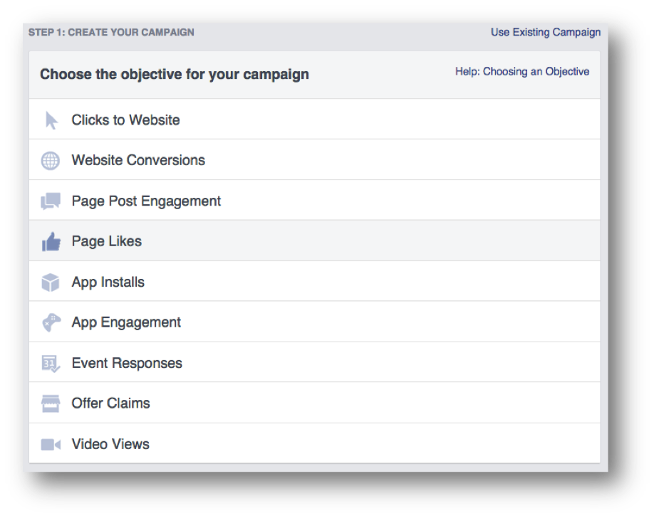 Facebook Advertising Choose the Objective For Your Campaign
