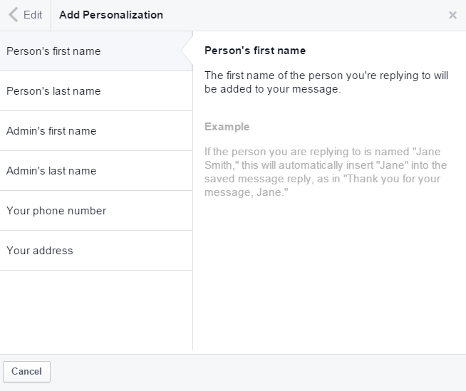 Facebook very responsive to messages icon - Add Personalization