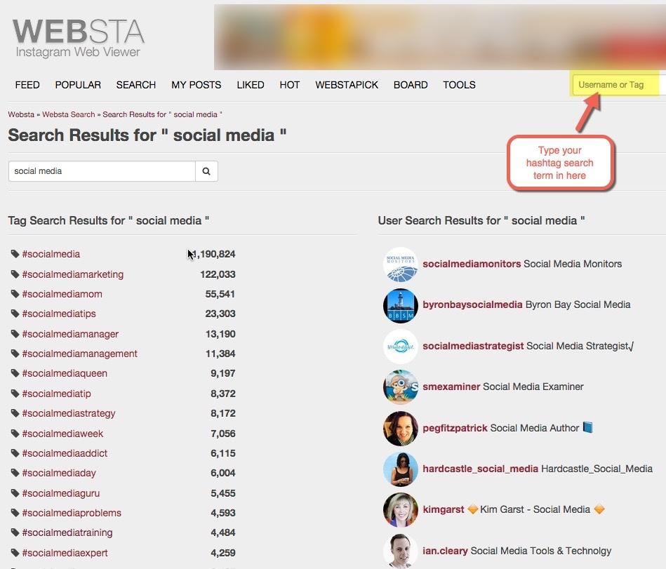 Find hashtags for instagram - Webstagram