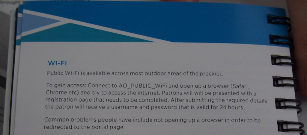 Free wi-fi at the Australian Open instructions