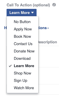 Facebook Ads call-to-action button