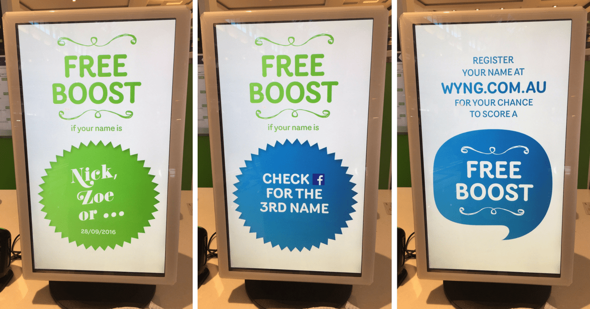 Boost Juice Name Day Promotions