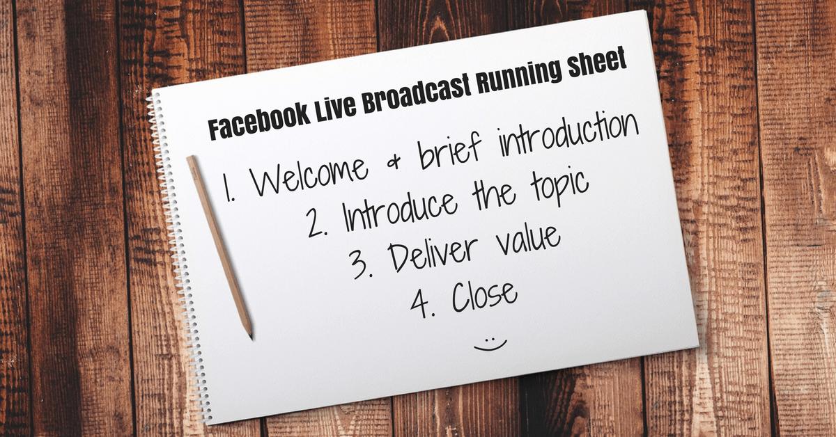 Facebook Live Broadcast Running Sheet